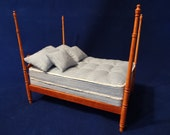"""Dollhouse Mattress, Box Spring, 2 Pillows And 2 Decorative Pillows 1"""" Scale Handmade Double"""