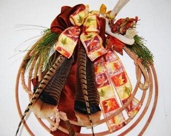 CUSTOM ORDER WREATH  Country Western Fall Lariat Antler Rope Wreath
