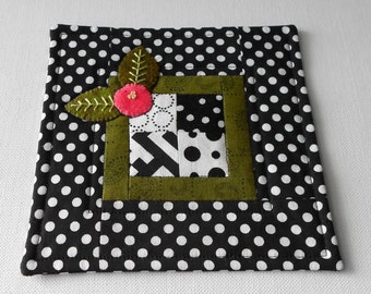 Handmade Cotton & Wool Modern Black and White Mug Mats set of 4