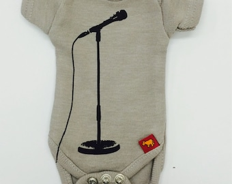 Sasha Baby doll onesie - Light Grey Microphone