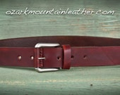 rustic Leather Belt with silver toned hardware shown in dark brown color