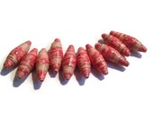 Fat Paper Beads - Set of 10 - Red, Pink and Beige, Large, Statement Bead Supplies, Destash Supplies,  (J1)
