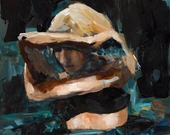 Through the Dark | 16 x 20 Art Print, Girl In Ocean, Sea Painting, Inspirational painting, thepaintedgrove