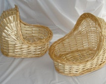 "Vintage 9"" Wicker Bassinets (Set of 2)  for Baby Shower Decoration"