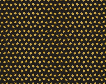 Pre-Order, Twilight Black, Fabric Yard by Maude Asbury for Blend Fabric, Halloween, Gold Stars, Spooktacular Eve, 101.107.12.3