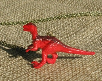 Red necklace Retro necklace Dinosaur necklace, Fun jewelry Dinosaur jewelry Plastic pendant unisex necklace Quirky Geekery Kitsch necklace