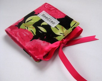 Handmade Fabric Sewing Needle Case with Pink Roses on Black Print