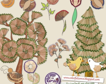 Pencil Shavings and Hand drawn clip art, Forest Trees Clipart, Garden clipart, butterfly, hand painted flowers, pencil shavings clipart