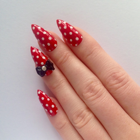 red bow stiletto nails nail designs nail art by prettylittlepolish. Black Bedroom Furniture Sets. Home Design Ideas