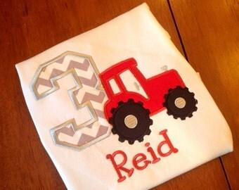 Tractor Birthday Shirt-Farm Birthday-Boy Girl Birthday shirt-Red tractor applique shirt-personalized tractor birthday shirt