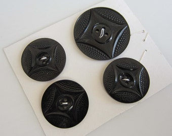 Set of 4 Matching Black Vintage Buttons - 2 sizes in one set.