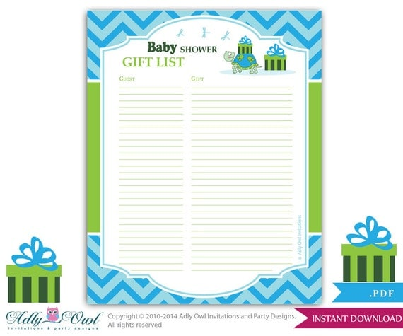 boy turtle guest gift list guest sign in sheet card for baby shower