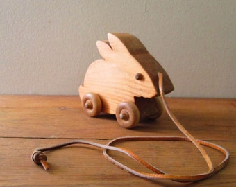Vintage Handcrafted Wooden Rabbit Pull Toy
