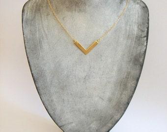 Minimalist  Raw Brass Necklace, Brass Shevron Necklace