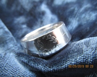 COIN RING made from a 1953 Ben Franklin Half Dollar, A NEW unsized Mens / Mans ring 63 year old American 90% silver coin