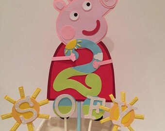 Peppa pig party decorations, Peppa pig birthday, Peppa pig cake topper, Peppa pig cake decoration