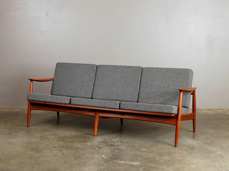 Sculptural Danish Modern Sofa Teak Gray Wool Felt