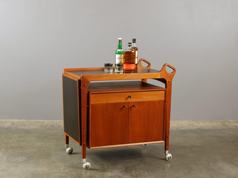 Sale Danish Modern Bar Cart Teak Tea Trolley Server