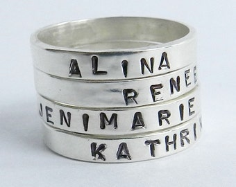 Sterling Silver Name Ring - Free Gift Wrapping w/ Hand Stamped Stacking Ring