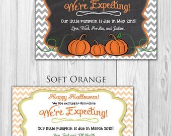 Pregnancy Announcement Card - Pumpkin, Halloween, Thanksgiving, Fall (DIGITAL FILE)