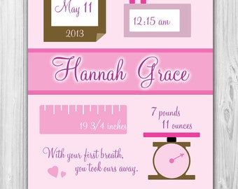 Baby Birth Stats Print | Pink and Brown or Pink and Gold (DIGITAL FILE)