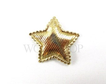 "Gold Satin Star - Set of 5 Padded Appliques - 1"" Patriotic Embellishments - PA-006"