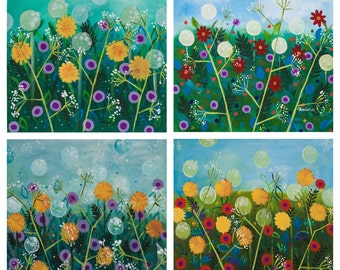 Dandelions Artist Cards, Meadow Green Cards after Original Paintings, Art Prints Floral Cards set of 4