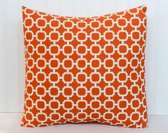 Orange Trellis Pillow 16 x 16, 18 x 18, 12 x 16 Decorator Pillow Cover Indoor Outdoor Fall pillow