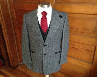 Men's Tweed Herringbone Jacket Sz 40R (Large)