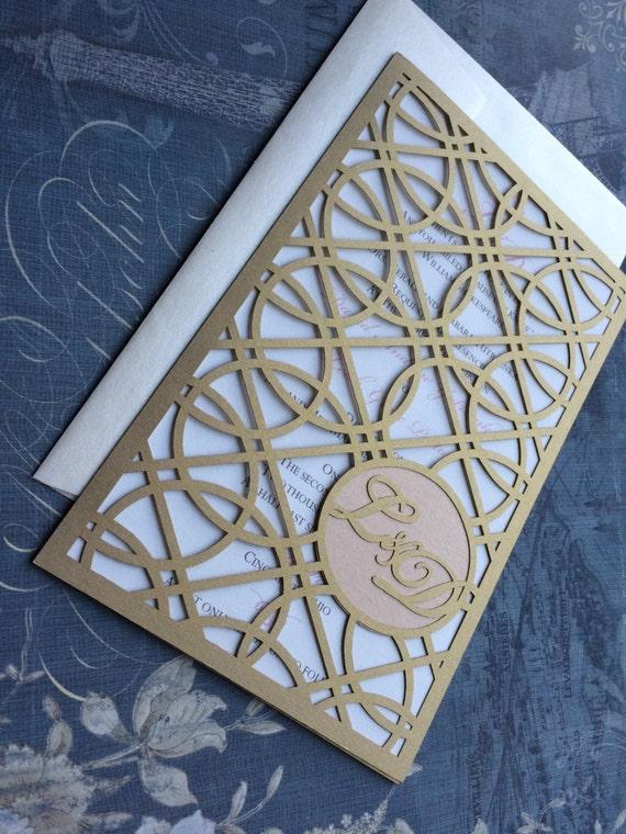Laser Cut Wedding Invitations Monogram Art Deco Rings