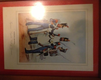 vintage Spanish military prints set of 4  Ejercito