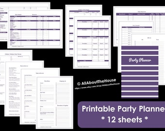 Printable Party Planner, birthday party, anniversary, event planner, direct sales, menu planner, party checklist, to do, budget, guest list