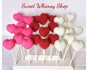 12 Glittery Heart Cake Pops for Valentine's Day, princess party, wedding favor, proposal, teacher, pink, red, bling, glitter, anniversary