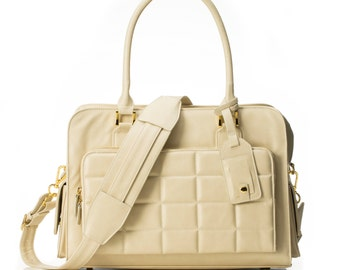 "15-inch Womens Laptop Bag - GRACESHIP ""Hong Kong"" Beige Computer Bag / Briefcase / Messenger Bag / Laptop Tote"