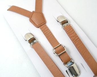 1/2'' inch Vintage / Country Style Brown Pu Leather  Adjustable Suspenders Y-Back Kids Children Boys Toddler Size 8 months- ADULT