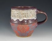 ceramic coffee mug, unique coffee mug, wheel thrown cup, pink butterflies, purple mug, textured pottery