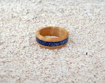 Recycled Oak with Lapis inlay wood ring