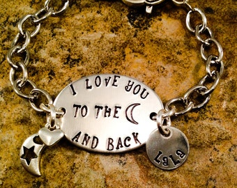 Personalized Mom Bracelet, I Love You To The Moon And Back Bracelet, Hand Stamped Jewelry, Aluminum Jewelry
