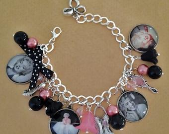 Marilyn - Vintage Marilyn Monroe Charm Bracelet - Handmade, Unique