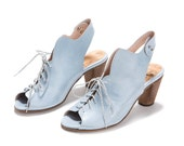 Sale 55% off  Lace up sandals - sky blue tie heel shoes - peep toe tie heel shoes - Slingback heel shoes - Handmade by Imelda shoes