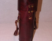 """26"""" long brown and brass leather tote"""