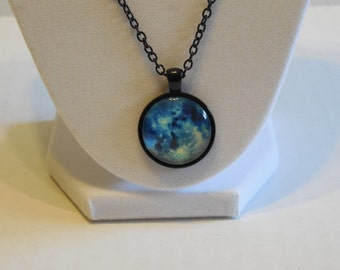 Blue Moon Glass dome necklace