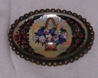Beautiful Reverse Painted Glass Brooch