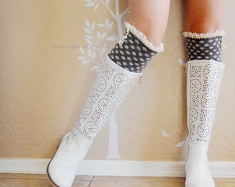 Gift for her,Beautiful Lace Leg Warmers,Charcoal leg warmers with cute cotton lace. leg warmers,boots long cuffs.Birthday gift