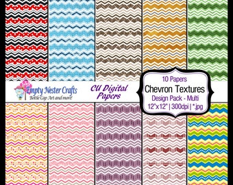 Digital Paper pack 12x12, Chevron texture mix, Commercial use ok