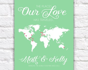 Custom World Map for Couples with Multiple Locations -  Map Art Print, Personalized Names, Locations - Couple who Travel, Wedding Gift