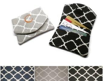 Personalized quatrefoil wallet, small women wallet, fabric card wallet, business card holder, monogrammed wallet, minimalist wallet