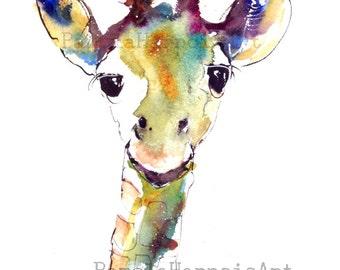 Giraffe Art, Watercolor Art, Print, Giclee, Animal Art, Safari, Kid's Art, Wall Art, Home Decor, Pamela Harnois, Gifts