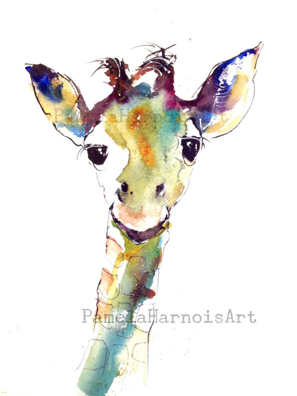 Giraffe Art Watercolor Art Print Giclee Animal Art
