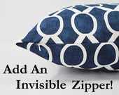 Invisible Zipper Add On - Pillow Covers with Invisible Zipper - Zippered Pillow Covers - Zipper Throw Pillow - Reversible Pillow Cover